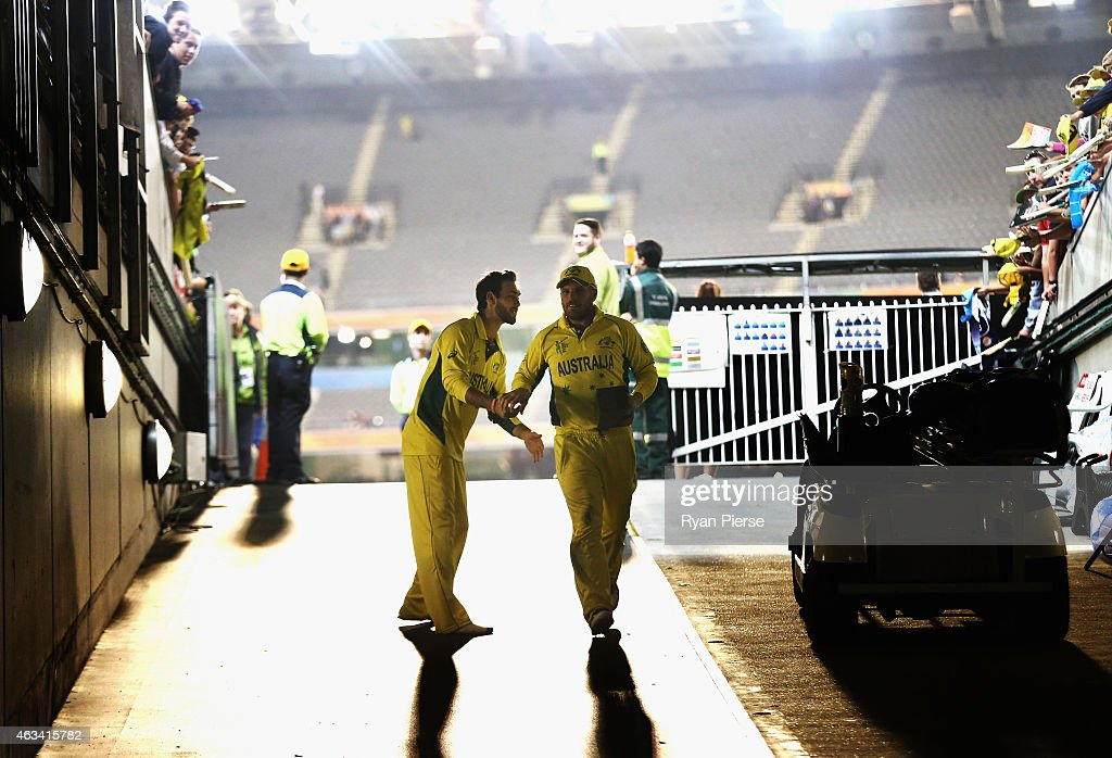 <a gi-track='captionPersonalityLinkClicked' href=/galleries/search?phrase=Aaron+Finch+-+Cricket+Player&family=editorial&specificpeople=724040 ng-click='$event.stopPropagation()'>Aaron Finch</a> of Australia is congratulated by <a gi-track='captionPersonalityLinkClicked' href=/galleries/search?phrase=Glenn+Maxwell&family=editorial&specificpeople=752174 ng-click='$event.stopPropagation()'>Glenn Maxwell</a> of Australia after collecting his player of the match award during the 2015 ICC Cricket World Cup match between England and Australia at Melbourne Cricket Ground on February 14, 2015 in Melbourne, Australia.