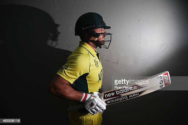 Aaron Finch of Australia poses during a portrait session at the Melbourne Cricket Ground on February 13 2015 in Melbourne Australia