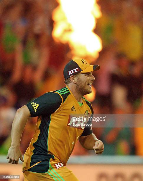 Aaron Finch of Australia reacts after taking a catch to dismiss Eoin Morgan of England during the Second Twenty20 International Match between...