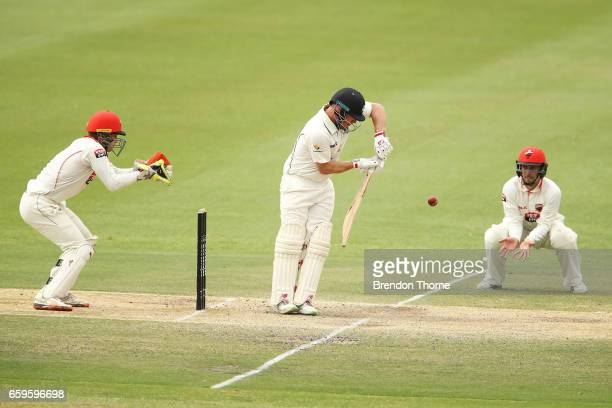 Aaron Finch of the Bushrangers plays a defensive shot during the Sheffield Shield final between Victoria and South Australia on March 29 2017 in...