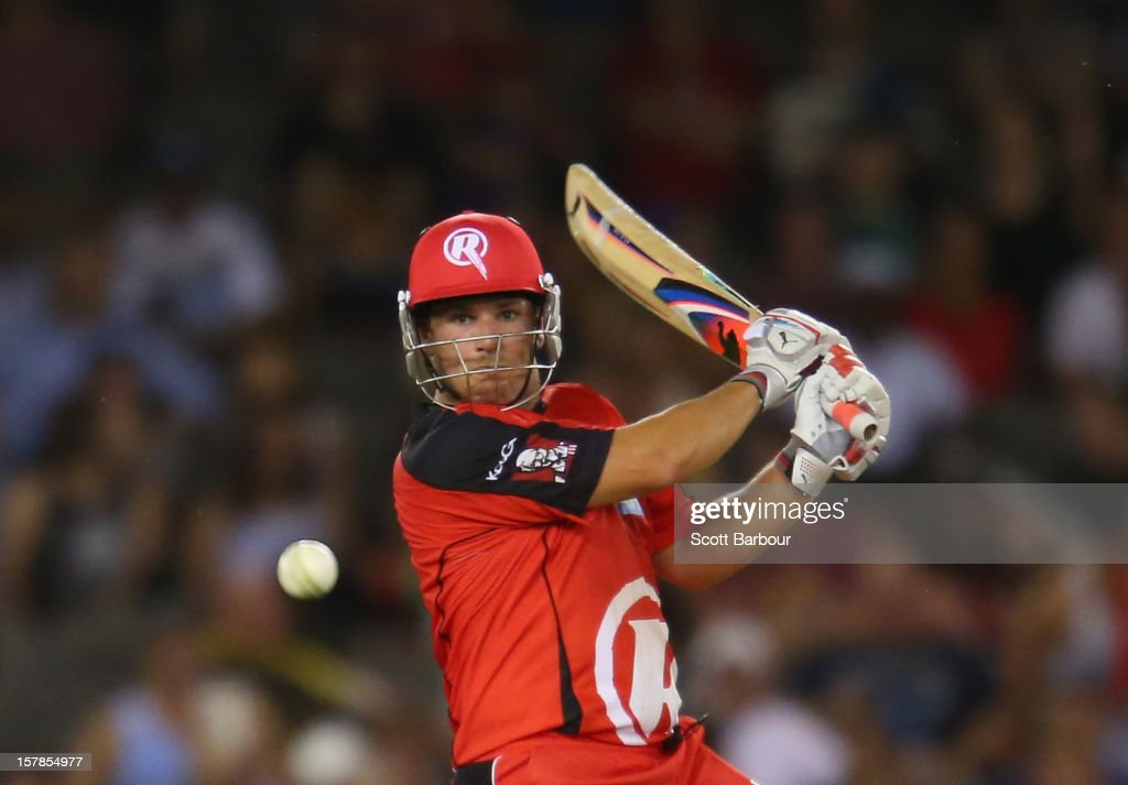 Aaron Finch of the Renegades bats during the Big Bash League match between the Melbourne Renegades and the Melbourne Stars at Etihad Stadium on December 7, 2012 in Melbourne, Australia.