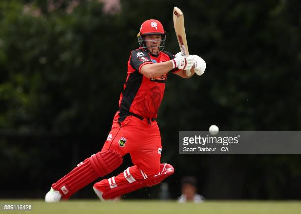 Aaron Finch of the Renegades bats during the practice match during the Melbourne Renegades BBL fan day at Geelong Cricket Ground on December 10 2017...
