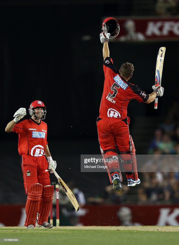 <a gi-track='captionPersonalityLinkClicked' href=/galleries/search?phrase=Aaron+Finch+-+Cricket+Player&family=editorial&specificpeople=724040 ng-click='$event.stopPropagation()'>Aaron Finch</a> of The Renegades celebrates his century with <a gi-track='captionPersonalityLinkClicked' href=/galleries/search?phrase=Cameron+White&family=editorial&specificpeople=178931 ng-click='$event.stopPropagation()'>Cameron White</a> during the Big Bash League match between the Melbourne Renegades and the Melbourne Stars at Etihad Stadium on December 7, 2012 in Melbourne, Australia.