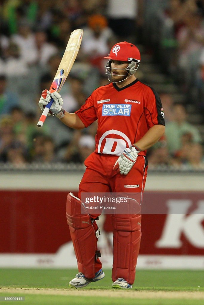 <a gi-track='captionPersonalityLinkClicked' href=/galleries/search?phrase=Aaron+Finch+-+Cricket+Player&family=editorial&specificpeople=724040 ng-click='$event.stopPropagation()'>Aaron Finch</a> of the Renegades celebrates his half century during the Big Bash League match between the Melbourne Stars and the Melbourne Renegades at Melbourne Cricket Ground on January 6, 2013 in Melbourne, Australia.