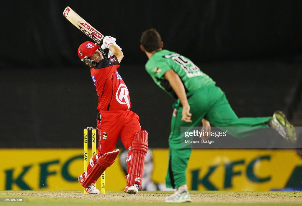 <a gi-track='captionPersonalityLinkClicked' href=/galleries/search?phrase=Aaron+Finch+-+Cricket+Player&family=editorial&specificpeople=724040 ng-click='$event.stopPropagation()'>Aaron Finch</a> of the Renegades hits a six off <a gi-track='captionPersonalityLinkClicked' href=/galleries/search?phrase=Clint+McKay&family=editorial&specificpeople=4083690 ng-click='$event.stopPropagation()'>Clint McKay</a> of the Stars during the Big Bash League match between the Melbourne Renegades and the Melbourne Stars at Etihad Stadium on January 4, 2014 in Melbourne, Australia.