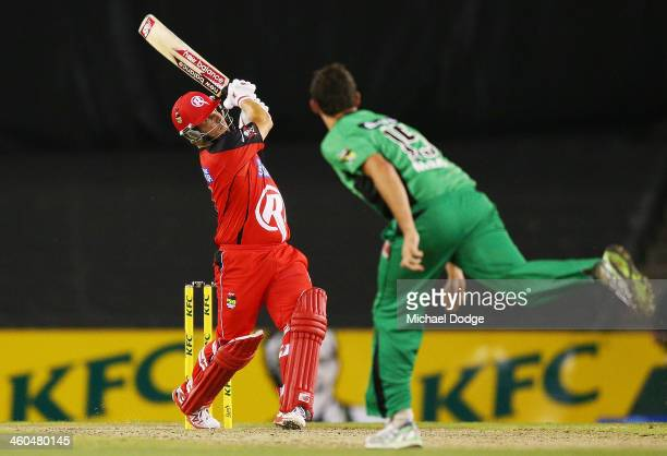 Aaron Finch of the Renegades hits a six off Clint McKay of the Stars during the Big Bash League match between the Melbourne Renegades and the...