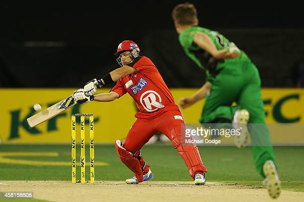 Aaron Finch of the Renegades hits a six off the bowling of Jackson Bird of the Stars during the Big Bash League match between the Melbourne Stars and...