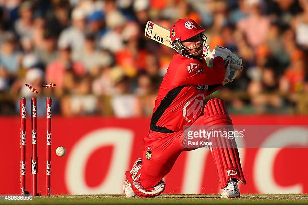 Aaron Finch of the Renegades is bowled by Ashton Agar of the Scorchers during the Big Bash League match between the Perth Scorchers and the Melbourne...