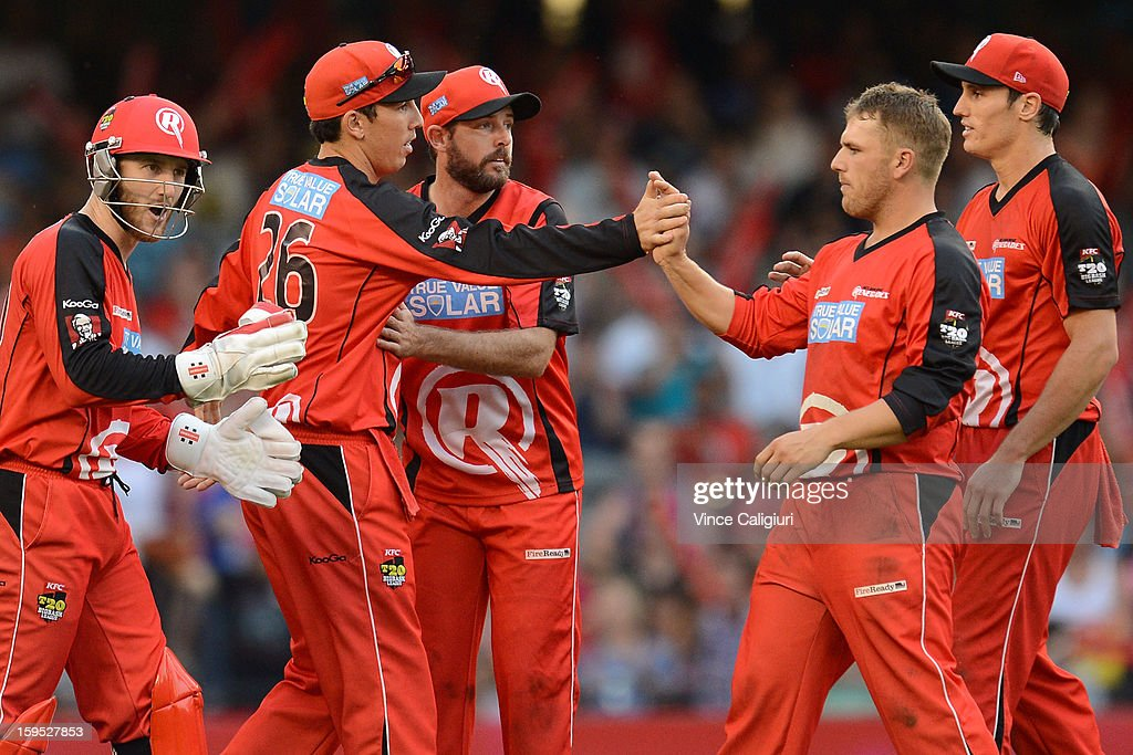 <a gi-track='captionPersonalityLinkClicked' href=/galleries/search?phrase=Aaron+Finch+-+Cricket+Player&family=editorial&specificpeople=724040 ng-click='$event.stopPropagation()'>Aaron Finch</a> of the Renegades (2nd from R) is congratulated by teammates after taking the wicket of Joe Burns during the Big Bash League Semi-Final match between the Melbourne Renegades and the Brisbane Heat at Etihad Stadium on January 15, 2013 in Melbourne, Australia.