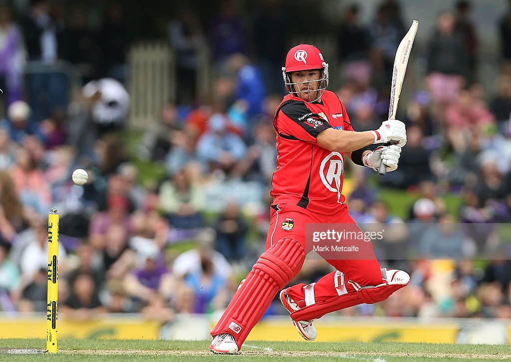 <a gi-track='captionPersonalityLinkClicked' href=/galleries/search?phrase=Aaron+Finch+-+Cricket+Player&family=editorial&specificpeople=724040 ng-click='$event.stopPropagation()'>Aaron Finch</a> of the Renegades plays a cut shot during the Big Bash League match between the Hobart Hurricanes and the Melbourne Renegades at Blundstone Arena on January 1, 2014 in Hobart, Australia.