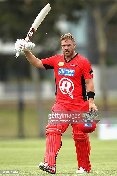 Aaron Finch of the Renegades thanks the crowd during the Melbourne Renegades Big Bash League Family Day at Merv Hughes Oval on December 14 2014 in...