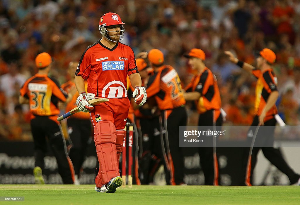 <a gi-track='captionPersonalityLinkClicked' href=/galleries/search?phrase=Aaron+Finch+-+Cricket+Player&family=editorial&specificpeople=724040 ng-click='$event.stopPropagation()'>Aaron Finch</a> of the Renegades walks abck to the rooms after being dismissed by Jason Behrendorff of the Scorchers during the Big Bash League match between the Perth Scorchers and the Melbourne Renegades at WACA on December 29, 2012 in Perth, Australia.
