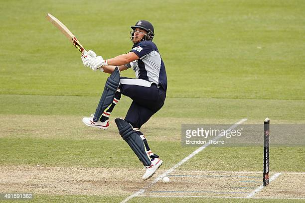 Aaron Finch of Victoria plays a stroke on the leg side during the Matador BBQs One Day Cup match between the CA XI and Victoria at Hurstville Oval on...