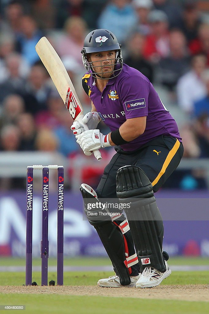 Aaron Finch of Yorkshire Vikings during the Natwest West T20 Blast match between Lancashire Lightning and Yorkshire Vikings at Old Trafford on June 6...