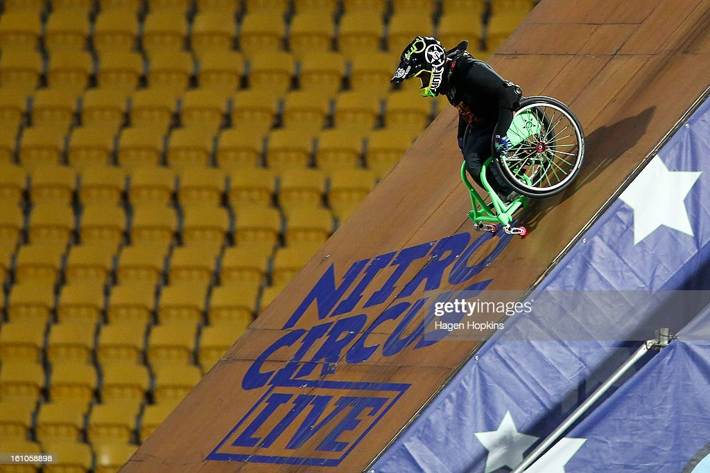 Aaron Fotheringham makes his way down the ramp while performing a stunt in his wheelchair during Nitro Circus Live at Westpac Stadium on February 9, 2013 in Wellington, New Zealand.