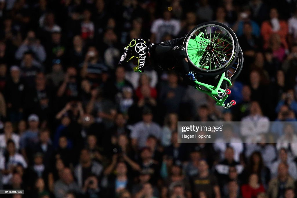 Aaron Fotheringham performs a stunt in his wheelchair during Nitro Circus Live at Westpac Stadium on February 9, 2013 in Wellington, New Zealand.