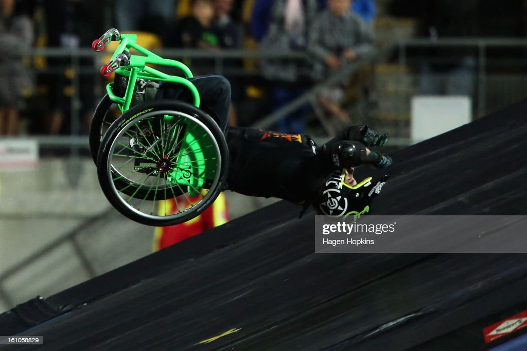 Aaron Fotheringham prepares to crash land while performing a stunt in his wheelchair during Nitro Circus Live at Westpac Stadium on February 9, 2013 in Wellington, New Zealand.