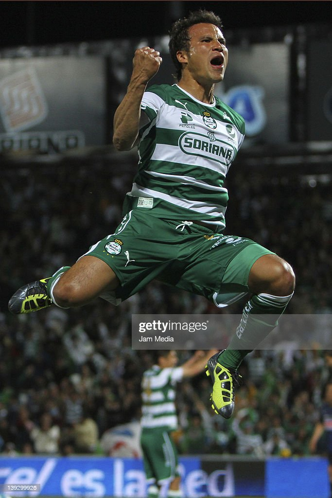 Aaron Galindo of Santos celebrate a scored goal during the Clausura Tournament 2011 at Corona Stadium on February 18, 2012 in Torreon, Mexico.