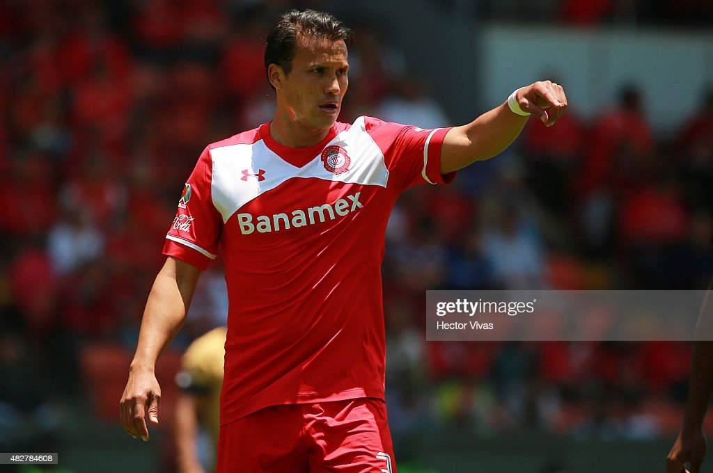 Aaron Galindo of Toluca reacts during a 2nd round match between Toluca and Pumas UNAM as part of the Apertura 2015 Liga MX at Nemesio Diez Stadium on August 02, 2015 in Toluca, Mexico.