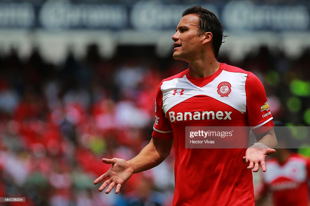 Aaron Galindo of Toluca reacts during a 5th round match between Toluca and Chivas as part of the Apertura 2015 Liga MX at Nemesio Diez Stadium on August 16, 2015 in Toluca, Mexico.