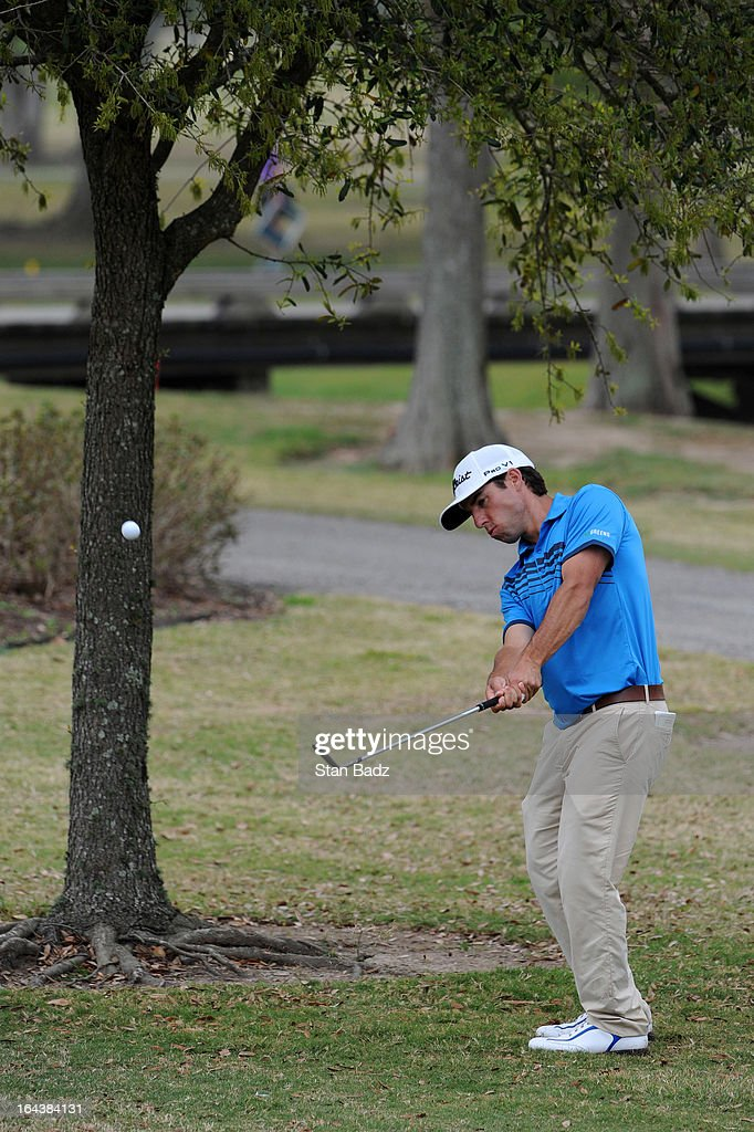 Aaron Goldberg chips onto the sixth green during the third round of the Chitimacha Louisiana Open at Le Triomphe Country Club on March 23, 2013 in Broussard, Louisiana.