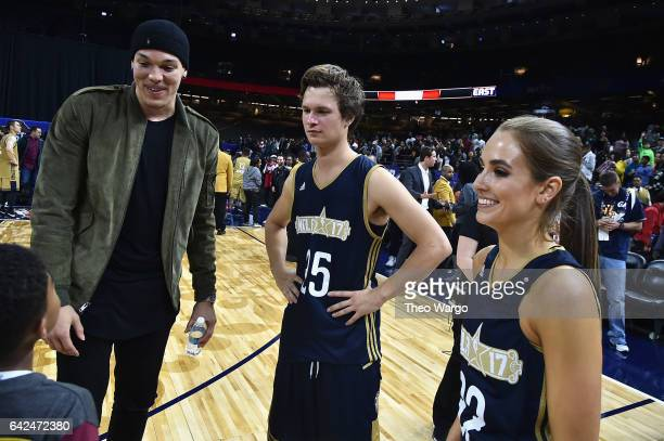 Aaron Gordon Ansel Elgort and Rachel DeMita attend the 2017 NBA AllStar Celebrity Game at MercedesBenz Superdome on February 17 2017 in New Orleans...