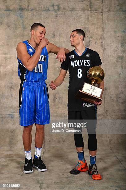 Aaron Gordon of the Orlando Magic and Zach LaVine of the Minnesota Timberwolves poses for a portrait with the Verizon Slam Dunk trophy as part of NBA...
