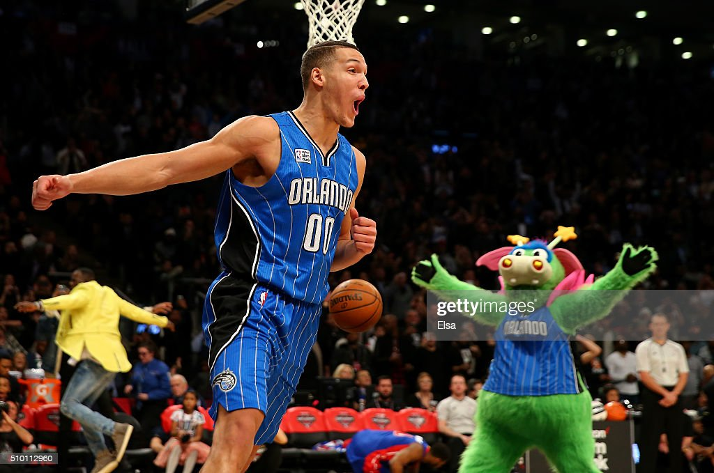 Aaron Gordon of the Orlando Magic celebrates after a dunk in the Verizon Slam Dunk Contest during NBA All-Star Weekend 2016 at Air Canada Centre on February 13, 2016 in Toronto, Canada.