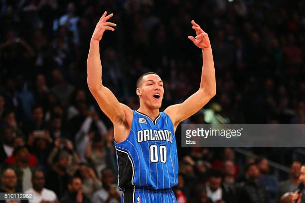 Aaron Gordon of the Orlando Magic celebrates after a dunk in the Verizon Slam Dunk Contest during NBA AllStar Weekend 2016 at Air Canada Centre on...