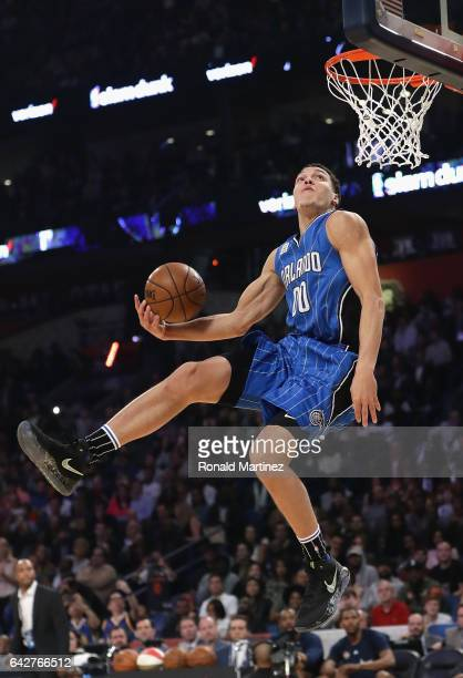 Aaron Gordon of the Orlando Magic competes in the 2017 Verizon Slam Dunk Contest at Smoothie King Center on February 18 2017 in New Orleans Louisiana...