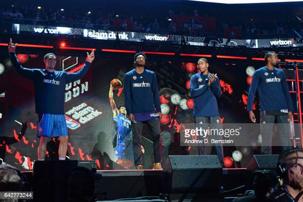 Aaron Gordon of the Orlando Magic Derrick Jones Jr #10 of the Phoenix Suns Glenn Robinson III of the Indiana Pacers and DeAndre Jordan of the LA...