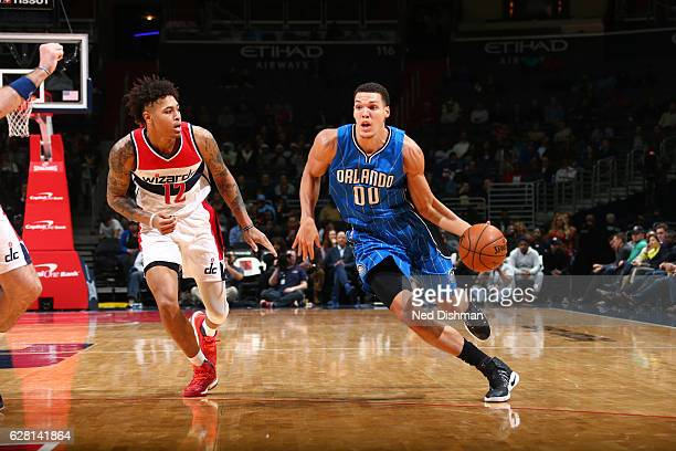 Aaron Gordon of the Orlando Magic drives to the basket against Kelly Oubre Jr #12 of the Washington Wizards during a game on December 6 2016 at the...