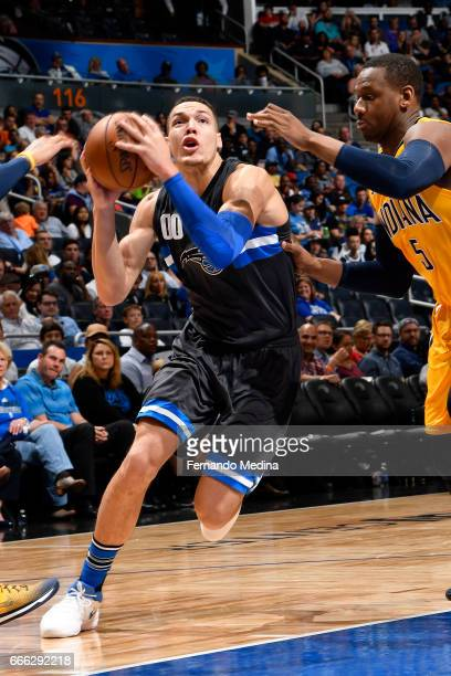 Aaron Gordon of the Orlando Magic drives to the basket against the Indiana Pacers on March 24 2017 at Amway Center in Orlando Florida NOTE TO USER...