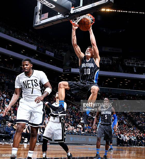 Aaron Gordon of the Orlando Magic dunks against the Brooklyn Nets on January 8 2016 at Barclays Center in the Brooklyn borough of New York City NOTE...