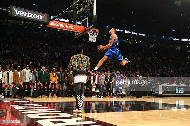 Aaron Gordon of the Orlando Magic dunks off an alley oop from teammate Elfrid Payton in the Verizon Slam Dunk Contest during NBA AllStar Weekend 2016...