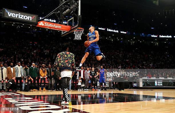 Aaron Gordon of the Orlando Magic dunks on an alley oop from teammate Elfrid Payton in the Verizon Slam Dunk Contest during NBA AllStar Weekend 2016...