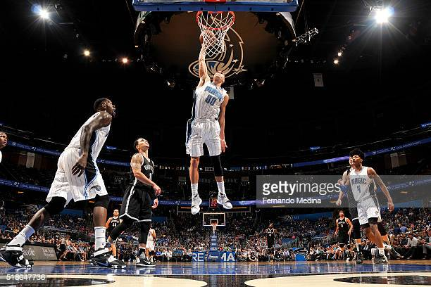 Aaron Gordon of the Orlando Magic dunks the ball during the game against the Brooklyn Nets on March 29 2016 at Amway Center in Orlando Florida NOTE...