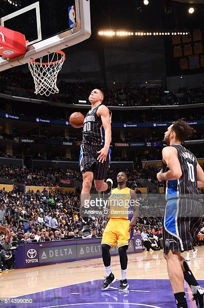 Aaron Gordon of the Orlando Magic goes to the basket against the Los Angeles Lakers on March 8 2016 at STAPLES Center in Los Angeles California NOTE...