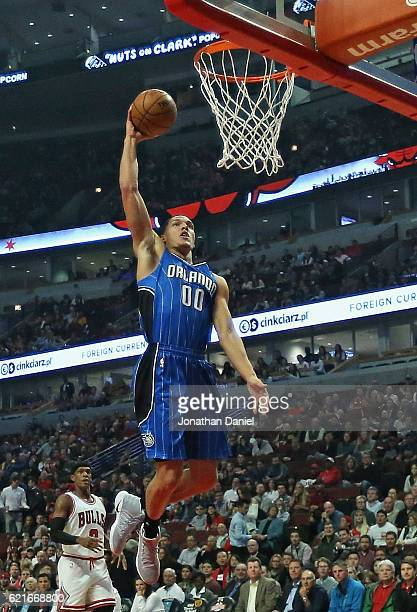 Aaron Gordon of the Orlando Magic goes up for a dunk against the Chicago Bulls at the United Center on November 7 2016 in Chicago Illinois