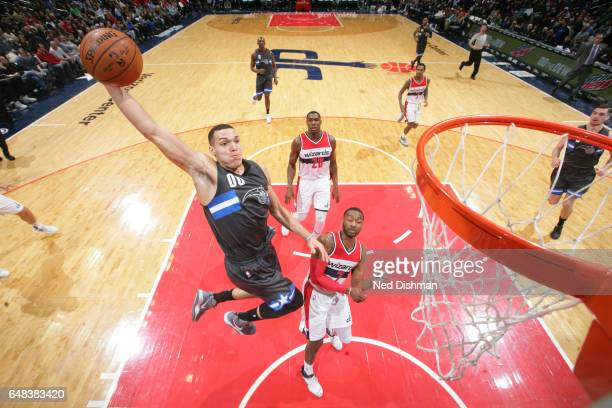 Aaron Gordon of the Orlando Magic goes up for a dunk during a game against the Washington Wizards on March 5 2017 at Verizon Center in Washington DC...