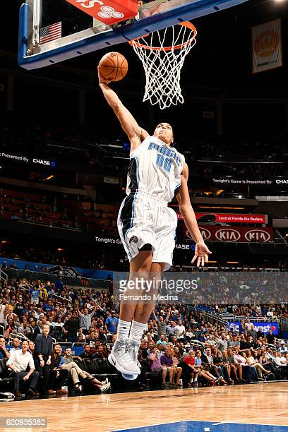 Aaron Gordon of the Orlando Magic goes up for a dunk during the game against the Sacramento Kings on November 3 2016 at Amway Center in Orlando...