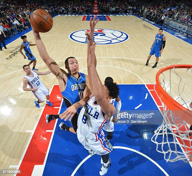 Aaron Gordon of the Orlando Magic goes up for the dunk against the Philadelphia 76ers at Wells Fargo Center on February 23 2016 in Philadelphia...
