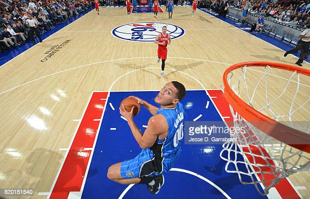 Aaron Gordon of the Orlando Magic goes up for the reverse dunk against Philadelphia 76ers during a game at the Wells Fargo Center on November 1 2016...