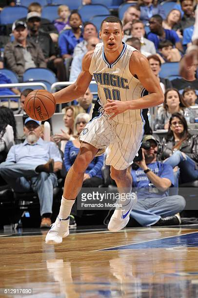 Aaron Gordon of the Orlando Magic handles the ball against the Philadelphia 76ers on February 28 2016 at the Amway Center in Orlando Florida NOTE TO...