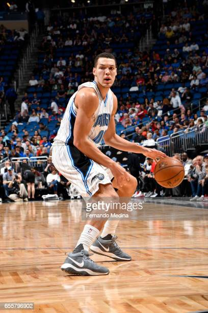 Aaron Gordon of the Orlando Magic handles the ball against the Philadelphia 76ers during the game on March 20 2017 at Amway Center in Orlando Florida...