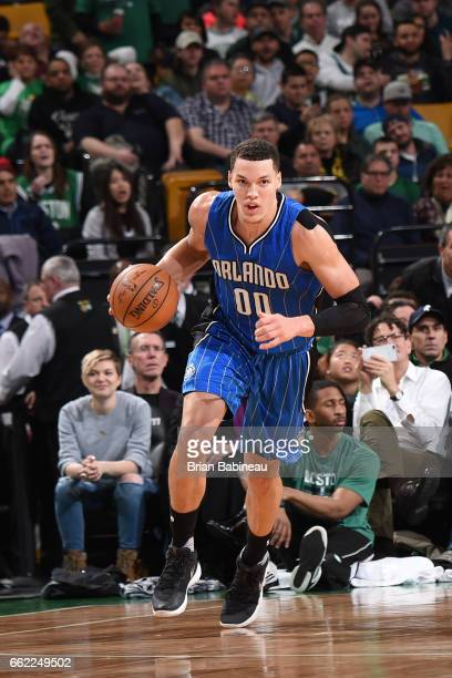Aaron Gordon of the Orlando Magic handles the ball against the Boston Celtics on March 31 2017 at the TD Garden in Boston Massachusetts NOTE TO USER...