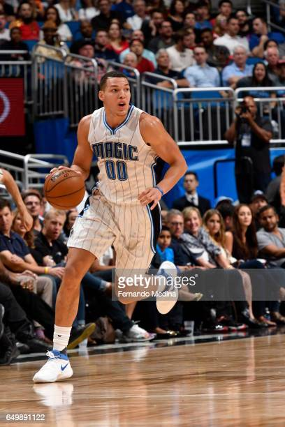 Aaron Gordon of the Orlando Magic handles the ball against the Chicago Bulls on March 8 2017 at Amway Center in Orlando Florida NOTE TO USER User...