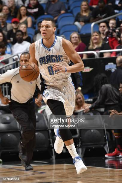 Aaron Gordon of the Orlando Magic handles the ball against the Miami Heat on March 3 2017 at the Amway Center in Orlando Florida NOTE TO USER User...