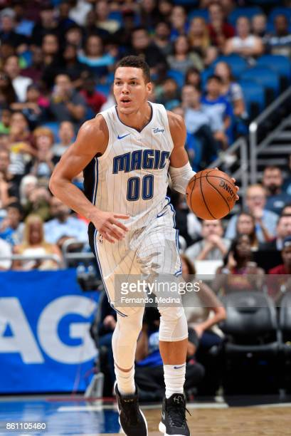 Aaron Gordon of the Orlando Magic handles the ball against the Cleveland Cavaliers during the preseason game on October 13 2017 at Amway Center in...