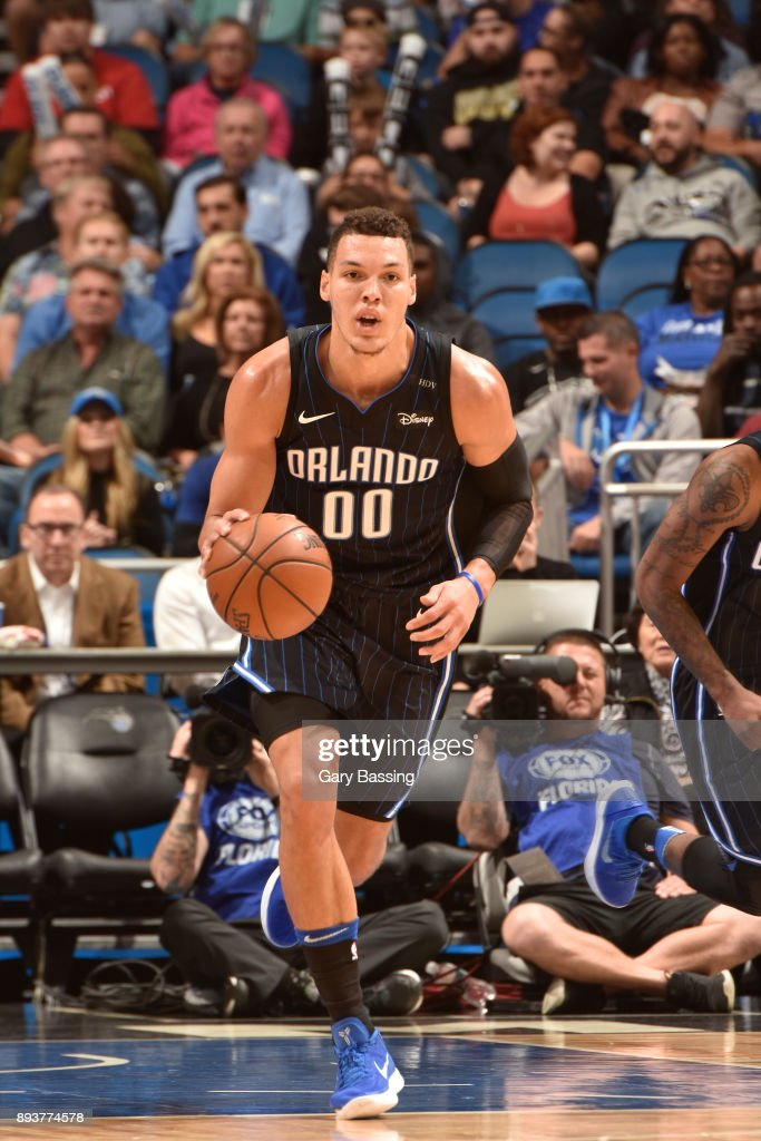 Aaron Gordon #00 of the Orlando Magic handles the ball against the Portland Trail Blazers on December 15, 2017 at Amway Center in Orlando, Florida.